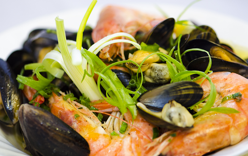 Panache of cravettes and cornish mussels